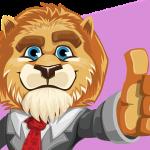 親指を出すライオン